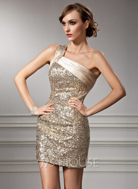 Sheath/Column One-Shoulder Short/Mini Charmeuse Sequined Cocktail Dress With Ruffle