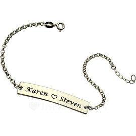 Custom Link & Chain Name Bracelets Engraved Bracelets With Heart - Valentines Gifts For Her (106216618)