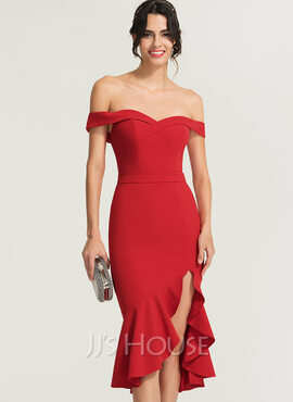 Trumpet/Mermaid Off-the-Shoulder Asymmetrical Stretch Crepe Cocktail Dress With Cascading Ruffles (016170850)
