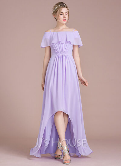 A-Line Off-the-Shoulder Asymmetrical Chiffon Prom Dresses With Cascading Ruffles