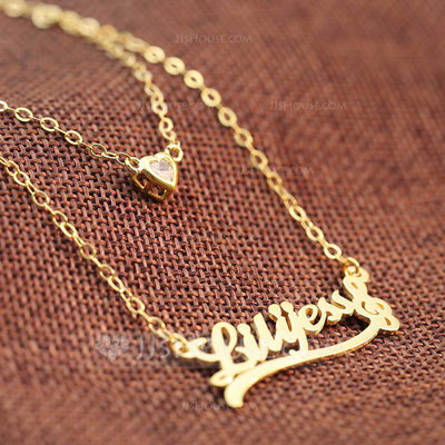 Personalized Ladies' Eternal Love Gold Plated With Heart Name Necklaces For Bridesmaid/For Friends