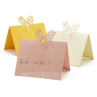 """Toasting Flutes"" Laser Cut Pearl Paper Place Cards (set of 12)"
