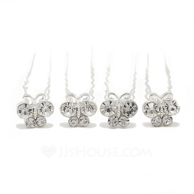 Nice Rhinestone/Alloy Hairpins (Set of 4)