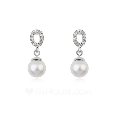 Gorgeous Platinum Plated With Pearl Ladies' Earrings