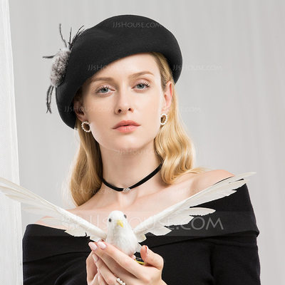 Ladies' Beautiful/Elegant/Nice Wool With Feather Beret Hats/Tea Party Hats