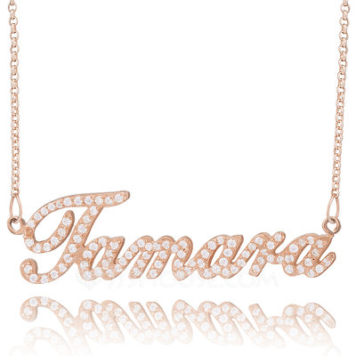 Custom 18k Rose Gold Plated Silver Plate Name Necklace With Diamond - Christmas Gifts