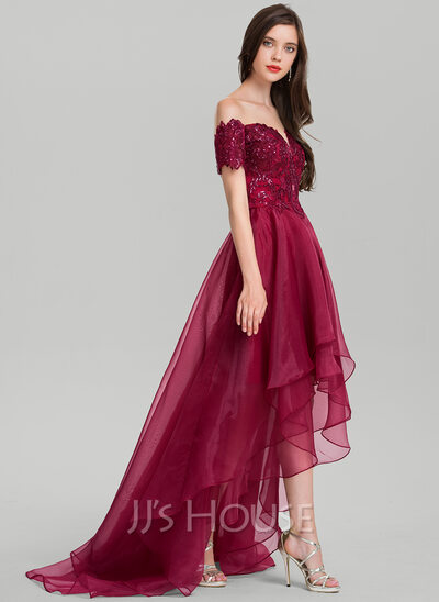 A-Line Off-the-Shoulder Asymmetrical Organza Prom Dresses