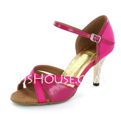 Women's Satin Heels Sandals Latin With Bowknot Buckle Dance Shoes