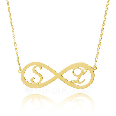 Christmas Gifts For Her - Custom 18k Gold Plated Silver Initial Couple Hollow Carved Two Initial Necklace Infinity Name Necklace