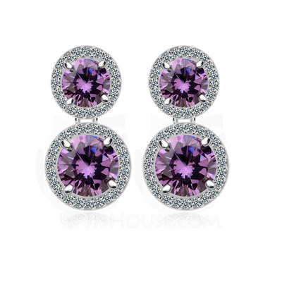 Pretty Zircon/Platinum Plated Women's Earrings
