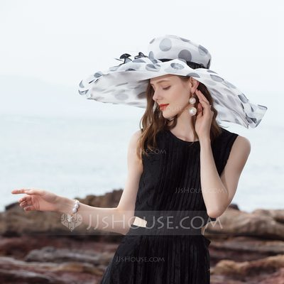 Ladies' Beautiful/Special/Elegant Organza With Feather Floppy Hat