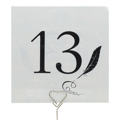 Feather Pearl Paper Table Number Cards (Set of 10)