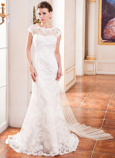 Trumpet/Mermaid Scoop Neck Watteau Train Tulle Lace Wedding Dress With Ruffle