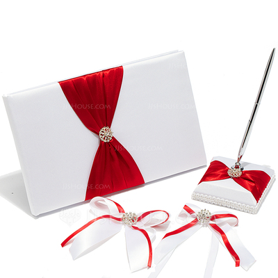 High Quality Rhinestones/Bow Guestbook & Pen Set