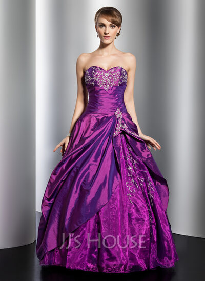 Ball-Gown Sweetheart Floor-Length Taffeta Quinceanera Dress With Embroidered Beading Sequins Cascading Ruffles