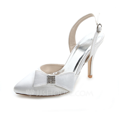 Women's Satin Stiletto Heel Closed Toe Pumps With Bowknot Buckle Rhinestone