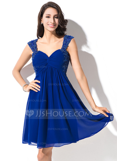 Empire Sweetheart Short/Mini Chiffon Homecoming Dress With Ruffle Beading Appliques Lace Sequins