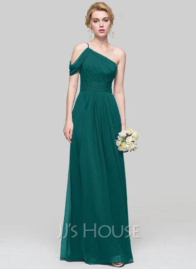 A Line Princess One Shoulder Floor Length Chiffon Bridesmaid Dress With Ruffle