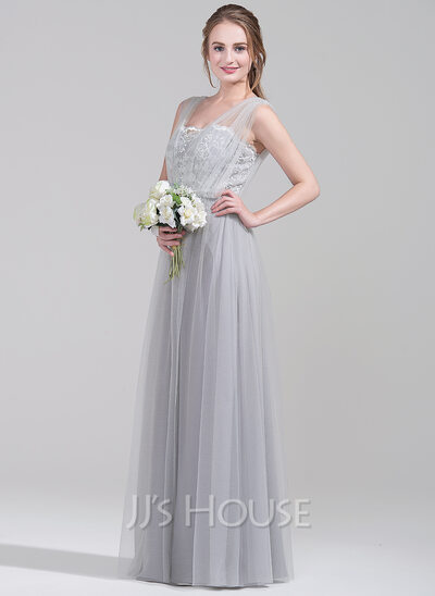 A-Line/Princess Sweetheart Floor-Length Tulle Lace Bridesmaid Dress With Ruffle