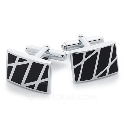 Simple Rectangular Zinc Alloy Cufflink (Set of 2)