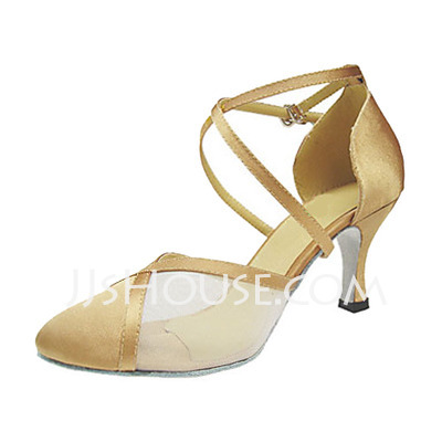 Women's Satin Heels Pumps Ballroom With Ankle Strap Dance Shoes