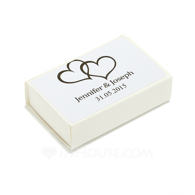 Personalized Double Hearts Hard Card Paper Matchboxes (Set of 12)