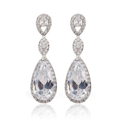 Unique Copper/Cubic Zirconia Ladies' Earrings