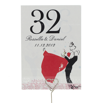 "Personalized ""Sweet Love"" Pearl Paper Table Number Cards (Set of 10)"