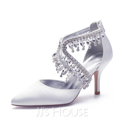Women's Satin Stiletto Heel Pumps With Rhinestone Tassel Pearl Zipper