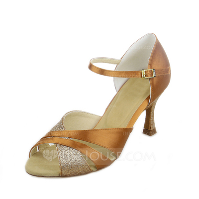 Women's Satin Sparkling Glitter Heels Sandals Latin With Buckle Dance Shoes