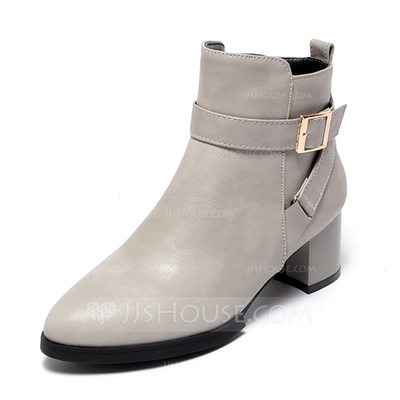 Women's Leatherette Low Heel Boots With Buckle shoes