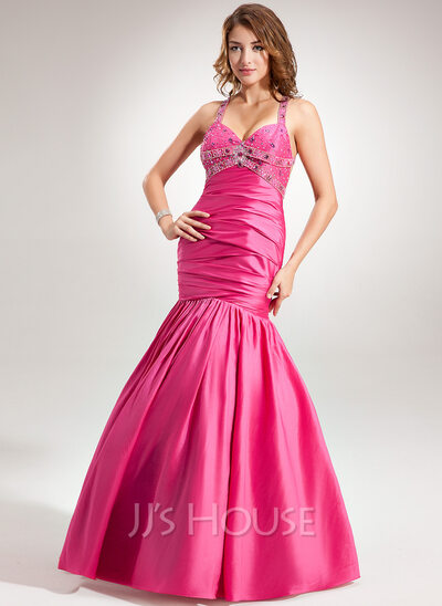 Trumpet/Mermaid Halter Floor-Length Taffeta Holiday Dress With Ruffle Beading