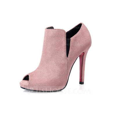 Women's Suede Stiletto Heel Peep Toe Ankle Boots shoes