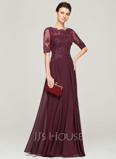 1391ef8ff7d A-Line Princess Scoop Neck Floor-Length Chiffon Lace Mother of the Bride