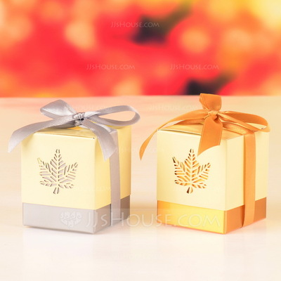 Fall Leaf Laser Cut Cubic Favor Boxes With Ribbons (Set of 12)
