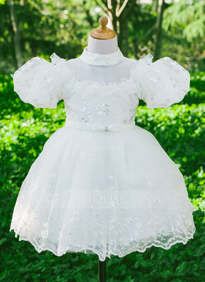 A-Line/Princess Flower Girl Dress - Satin/Sequined Short Sleeves High Neck