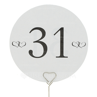 Round Pearl Paper Table Number Cards (Set of 10)