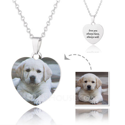 Custom Silver Heart Color Printing Photo Necklace - Mother's Day Gifts