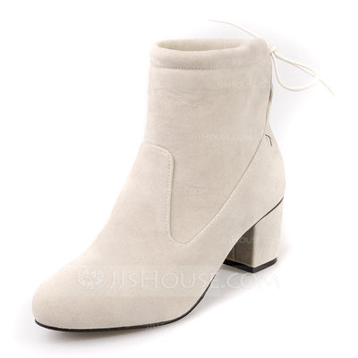 Women's Leatherette Chunky Heel Pumps Closed Toe Boots Ankle Boots With Lace-up shoes