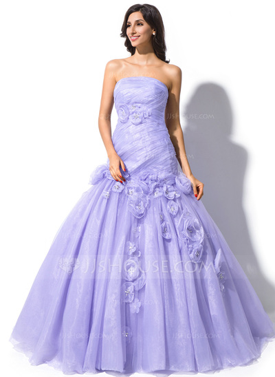 Trumpet/Mermaid Strapless Court Train Organza Wedding Dress With Ruffle Beading Flower(s)