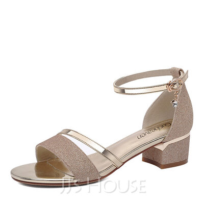 Women's Sparkling Glitter Low Heel Peep Toe Sandals (047155174)