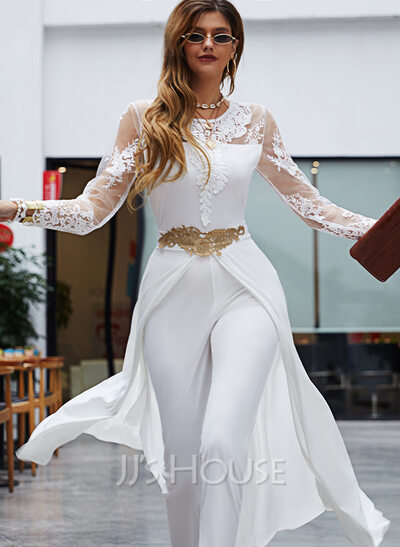 Lace Solid Round Neck 3/4 Sleeves Elegant Party Jumpsuits Dresses