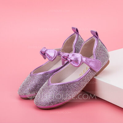 Girl's Closed Toe Leatherette Flat Heel Flats Flower Girl Shoes With Bowknot Crystal
