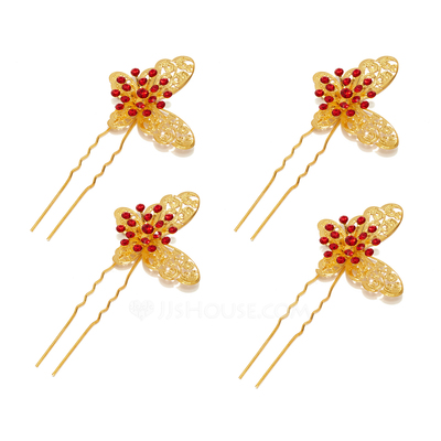 Simple Butterfly Alloy Hairpins (Set of 4)