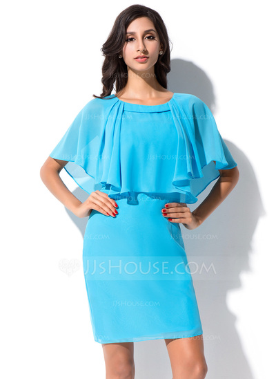 Sheath/Column Scoop Neck Short/Mini Chiffon Bridesmaid Dress With Cascading Ruffles