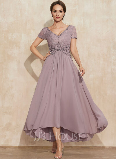 A-Line V-neck Asymmetrical Chiffon Lace Cocktail Dress With Beading