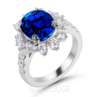 Halo Unique Sapphire Blue Oval Cut 925 Silver Engagement Rings