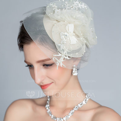 Special Rhinestone/Imitation Pearls/Artificial Silk Fascinators
