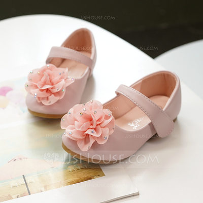Girl's Mary Jane Microfiber Leather Flower Girl Shoes With Satin Flower Velcro