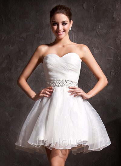 A-Line/Princess Sweetheart Short/Mini Organza Wedding Dress With Ruffle Beading Sequins